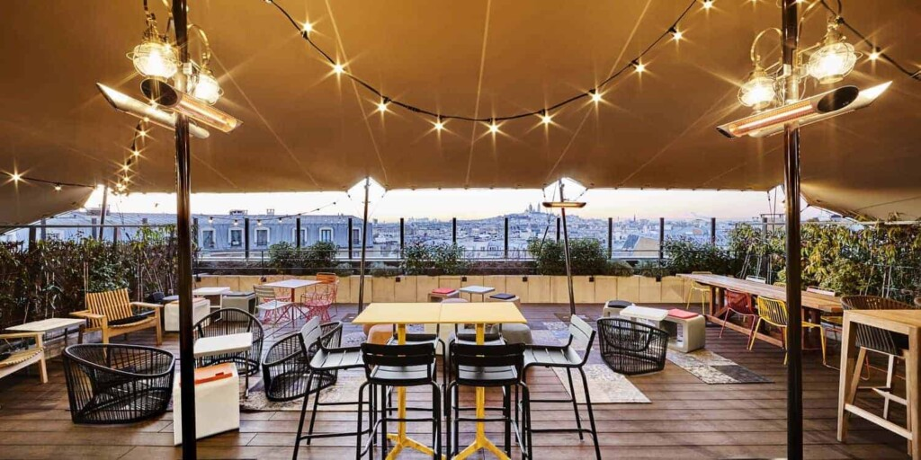 Outdoor terrace with beautiful view of Paris