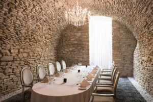 Unique ancient meeting room with stone walls