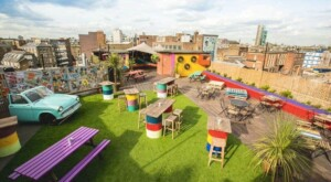 Vibrant rooftop in East London