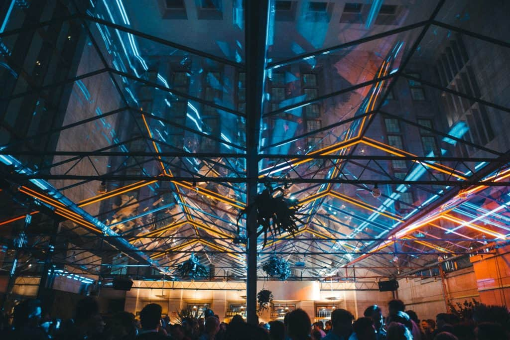 Classical party venue with glass ceiling