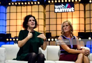 Barbara Martin Coppola, Chief Digital Officer, IKEA, left, with Kristin Lemkau, CMO, JPMorgan Chase talk about diversity on Centre Stage at Web Summit 2019. Photo By David Fitzgerald / Sports file for Web Summit via Getty Images