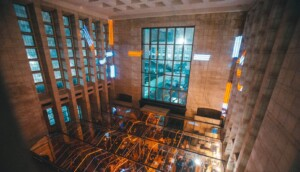 party venue with modernistic glass ceiling