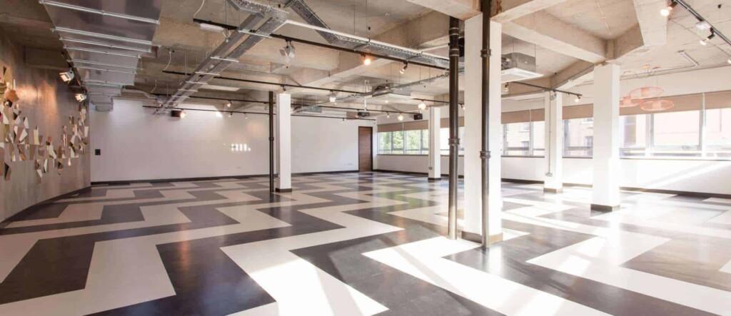 Retro venue with B&W checkerboard floors