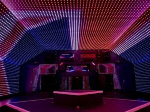 Futuristic party venue in London
