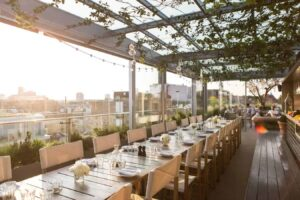 Stylish rooftop with view over East London