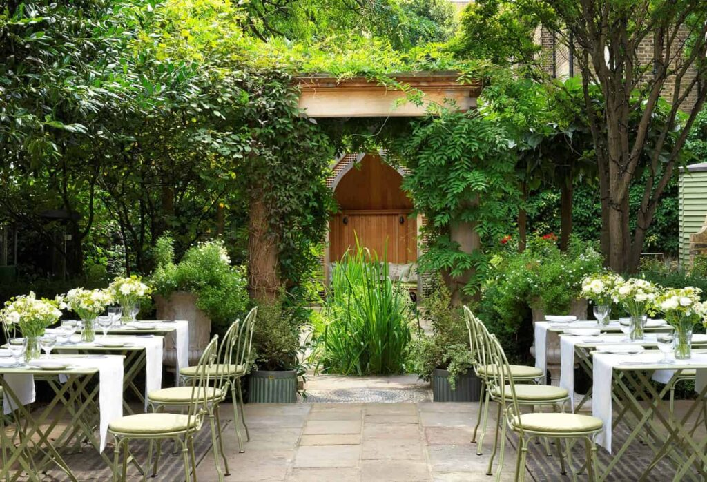 Charming event space with a tree-filled garden