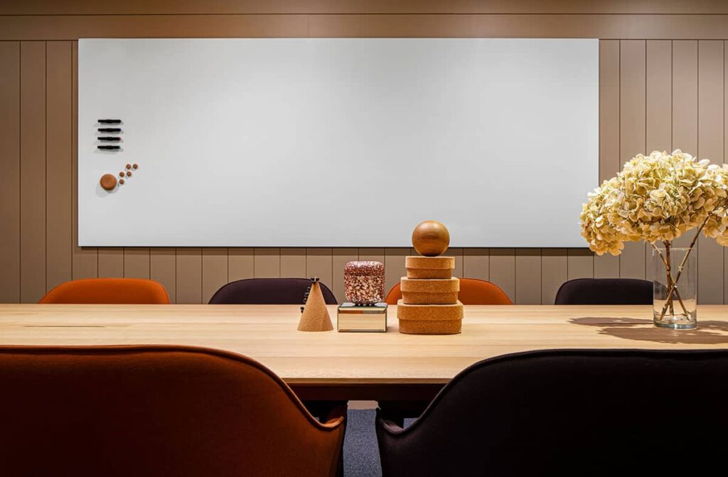 Comfortable seminar room with accent colors