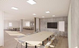 Contemporary conference room with private meeting space