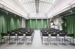 Futuristic and luminous venue with a glass ceiling