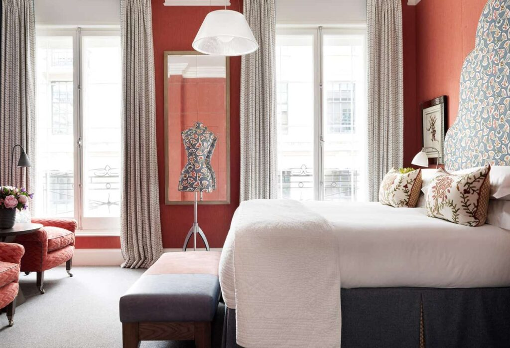 Luxury hotel rooms in modern English style