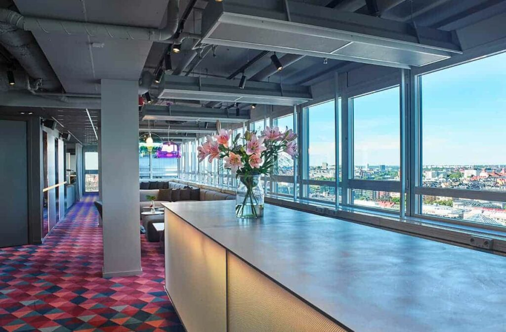 Spacious venue with views for a showcase event