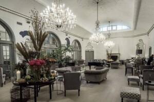 Beautiful ballroom with a crackling fireplace