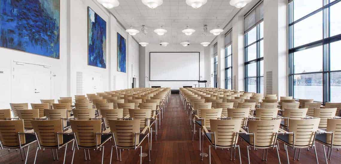 Bright conference hall with stunning view