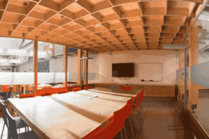 Bright meeting room with wood interior