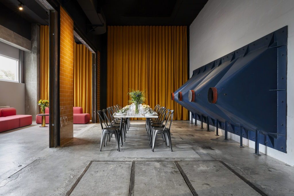 Industrial event space with quirky accents