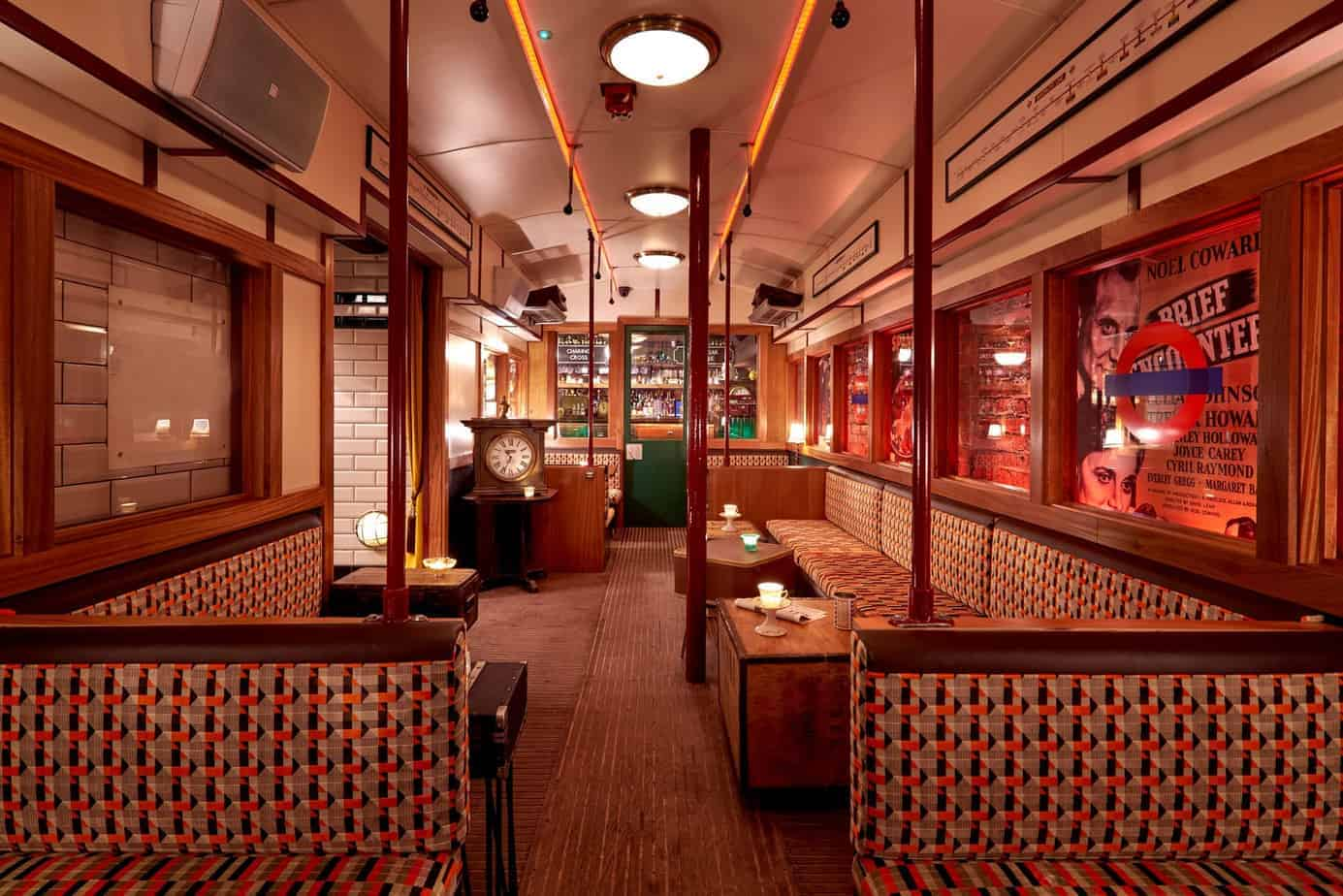 Bar with vintage London tube carriage
