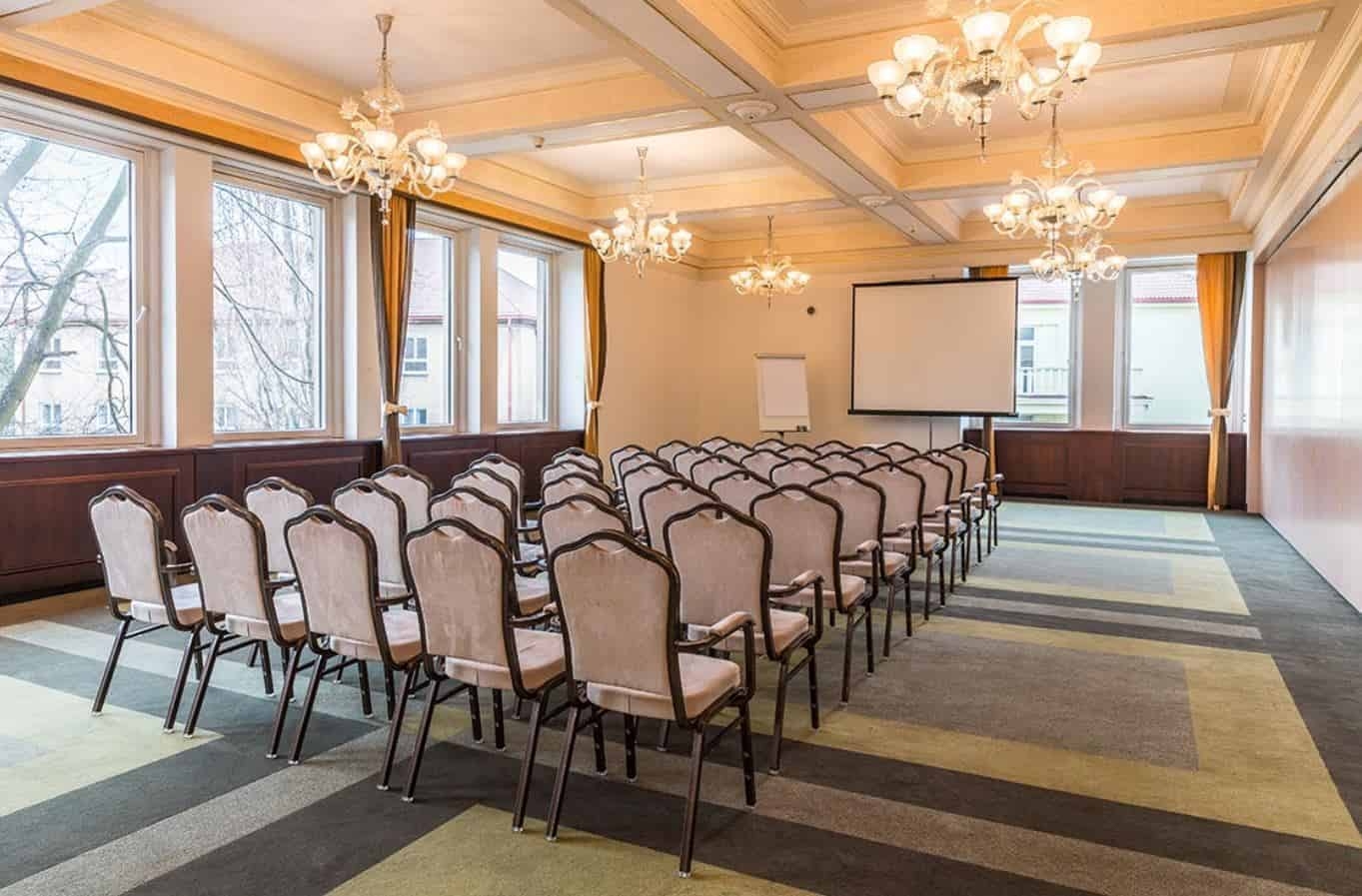 Bright conference room with eye-catching chandeliers