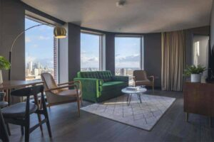 Carefully designed hotel with 360 views of the city