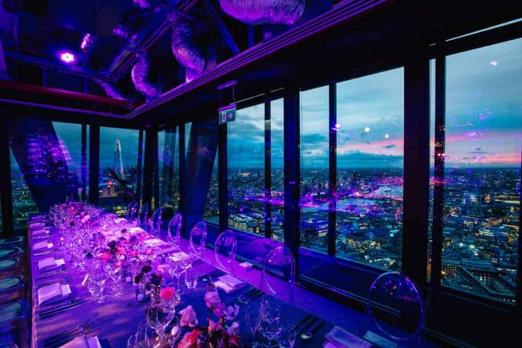 Luxurious glass venue with views of London's skyline boasting loads of sunlight and a refined atmosphere.