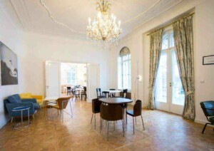Stylish conference venue with stunning chandelier