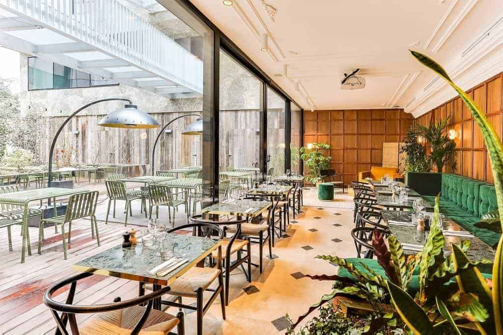Welcoming event venue with lush terrace
