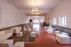 White event venue with traditional Portuguese elements
