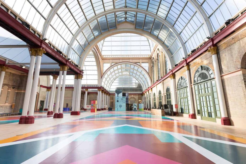 Colorful impressive venue with high glass ceiling