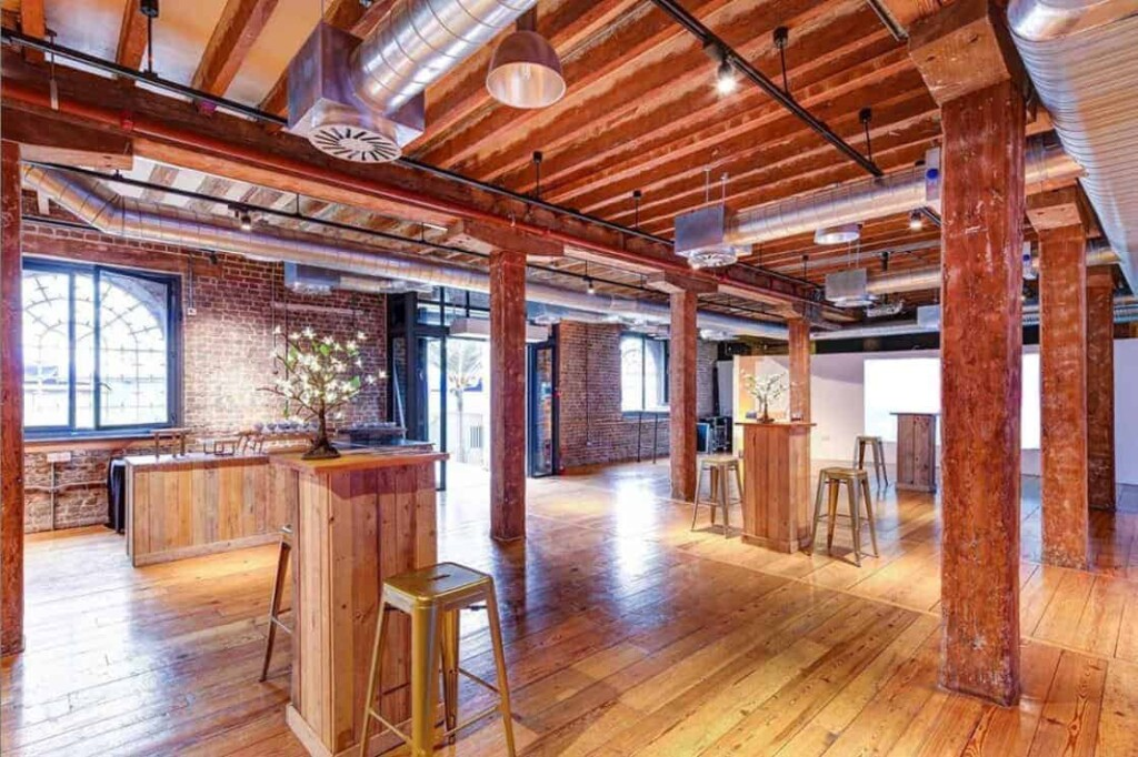 Extraordinary venue with Georgian architecture. Stone pilars with wood flooring and ceiling. Two floors.