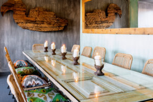 Intimate private dining venue with colourful elements