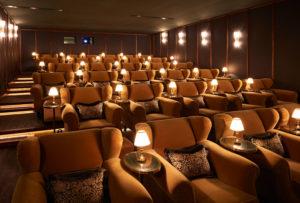 Original screening room with velvet armchairs