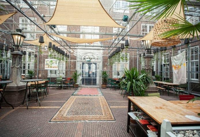 Beautiful glass greenhouse in Amsterdam