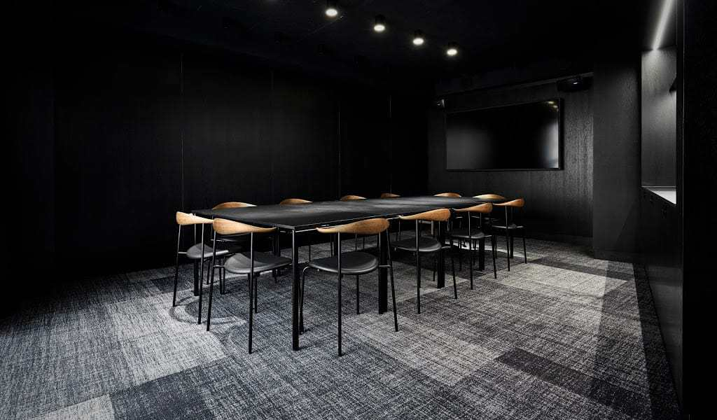 Black minimalistic space for business meetings