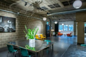 Industrial event space with a retro touch