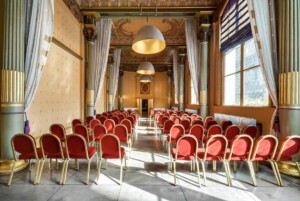 Luxurious event room with a classic style featuring a Napoleon III ceiling.