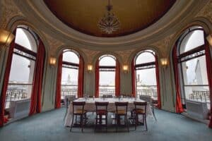 Striking event space with a majestic dome features a unique design and a sophisticated ambience.