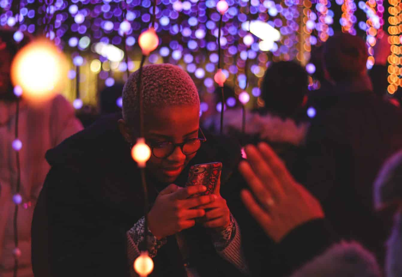 Woman engaging in social media