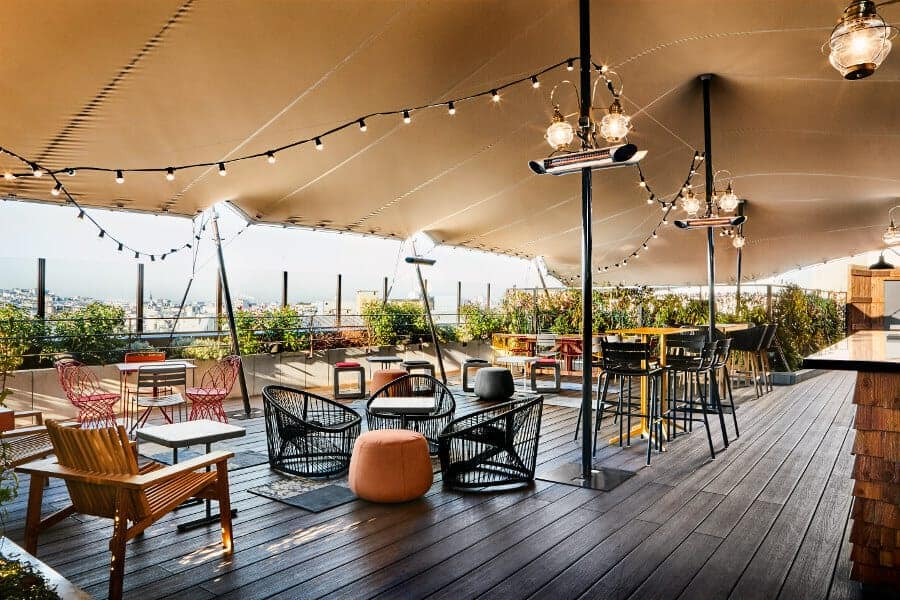 Bohemian outdoor terrace and bar with a view