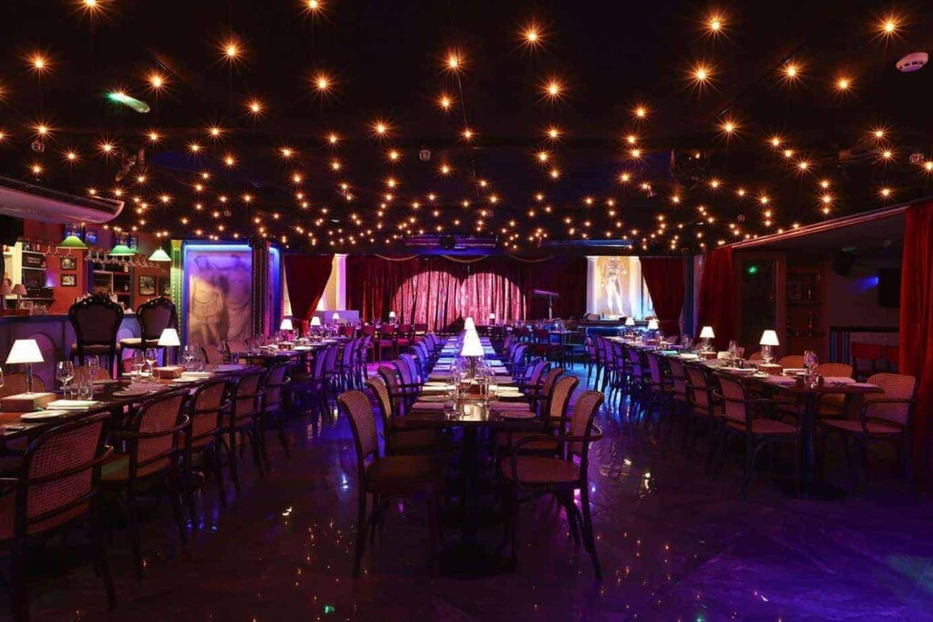 Richly decorated event space with live entertainment