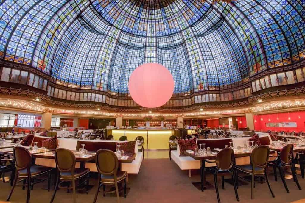 Majestic event space with a colourful glass dome
