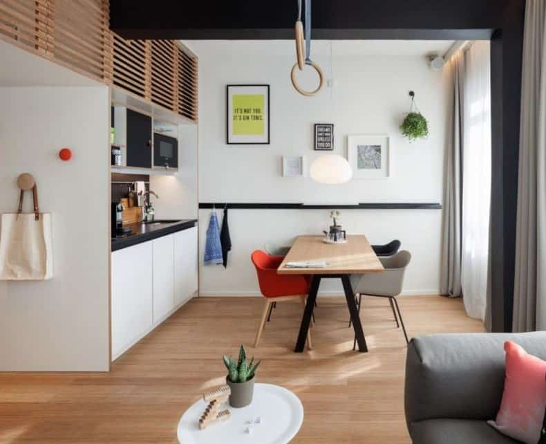 Meeting loft for meet, eat and sleep. Parquet flooring and colorful, modern but relaxed interior