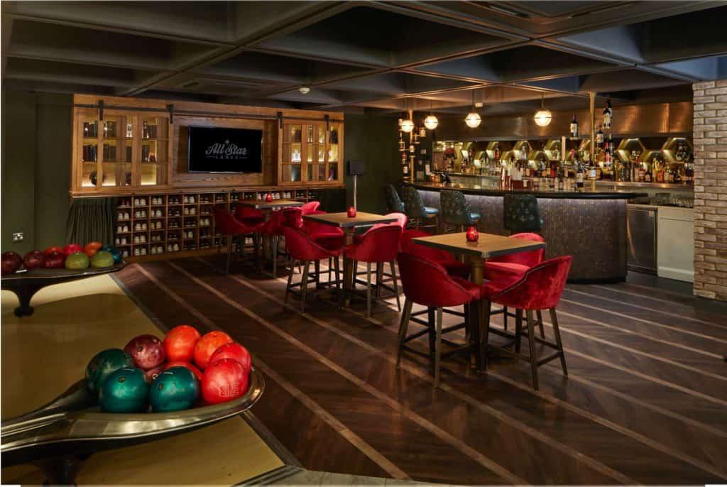 Chic and elegant bowling and karaoke bar