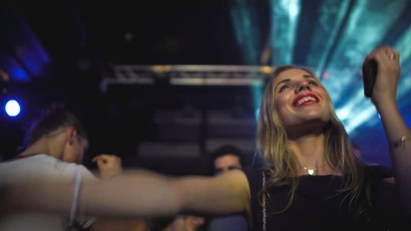Woman dancing during Brussels Electronic Marathan