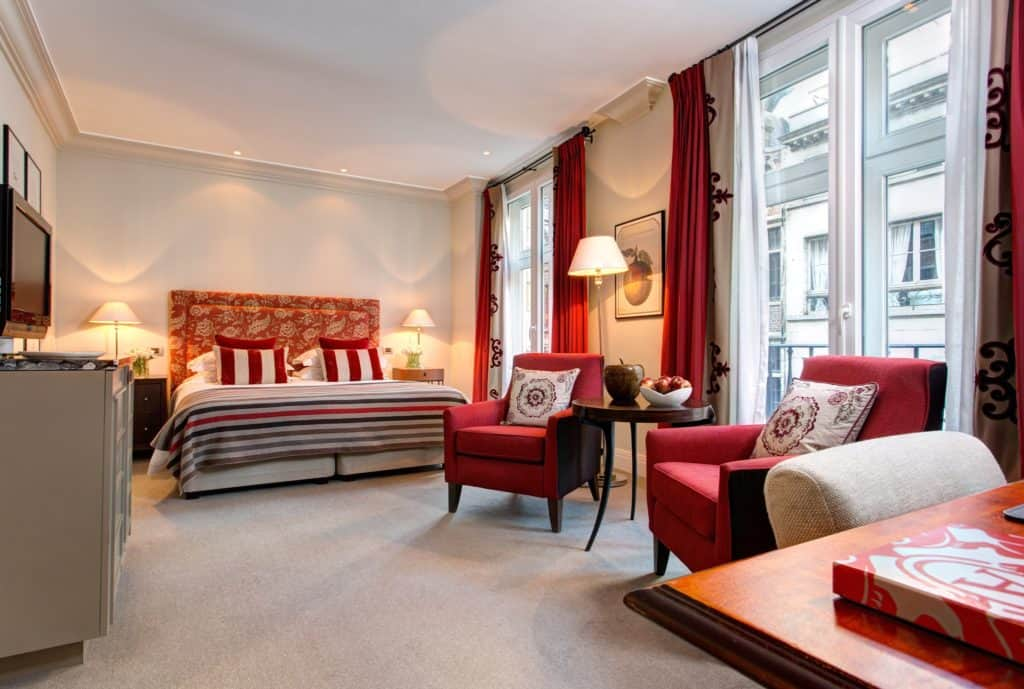 Luxurious suite with red accents