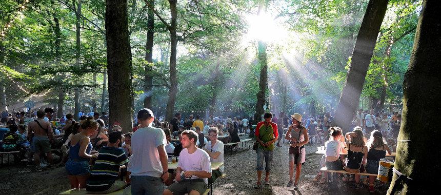 Colour Café outdoor festival between the trees