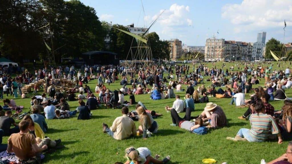 Green grass field in Brussels city