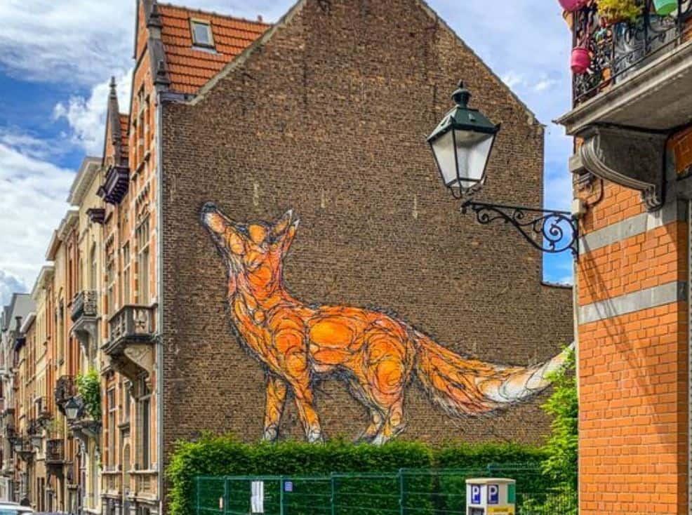 Fox mural in Brussels