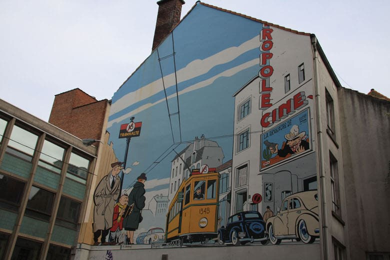 Famous comic wall in Brussels's streets
