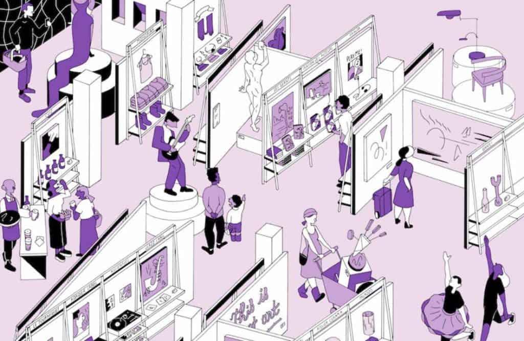 Cartoon about the National Artist Supermarket exhibition