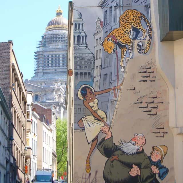 Comic book wall street art in Brussels