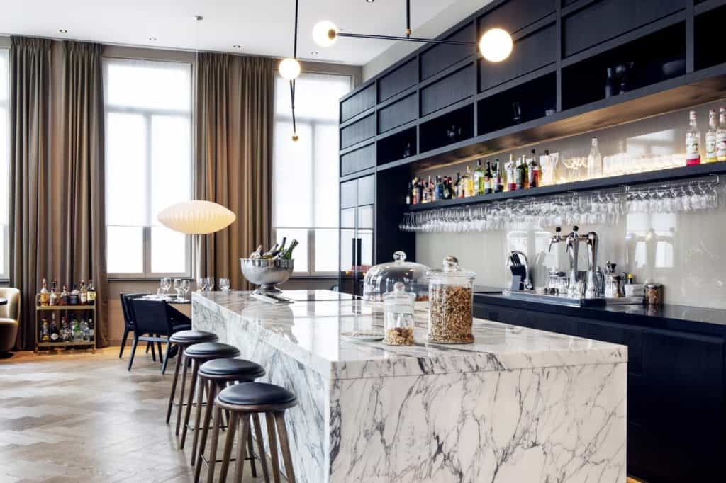 Modern guesthouse with minimalist and marble design